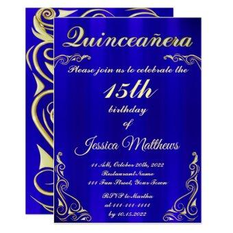 Elegant Blue and Gold Typography Quinceañera