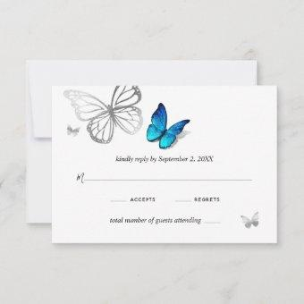 Elegant Blue Butterfly Rustic Watercolor Wedding RSVP Card
