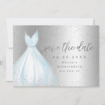 Elegant blue dress save the date