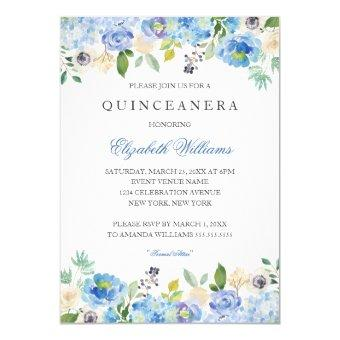 Elegant Blue Floral Quinceanera Invitation