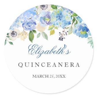 Elegant Blue Floral Sticker