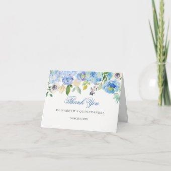 Elegant Blue Floral Thank You