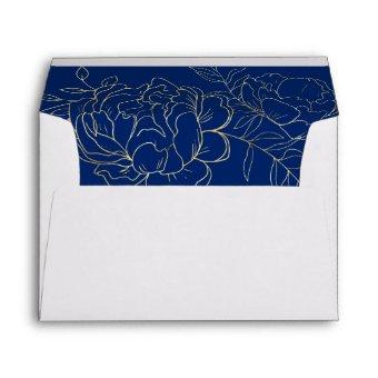 Elegant Blue Gold Sketched Floral Return Address Envelope