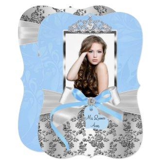 Elegant Blue Silver Bow Rose Photo 1