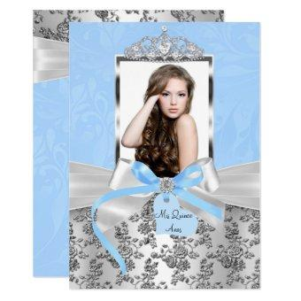 Elegant Blue Silver Bow & Rose Photo