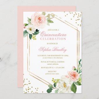Elegant Blush Gold Pink Floral Quinceañera