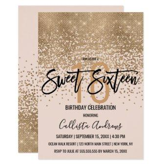 Elegant Blush Pink Gold Glitter Confetti Sweet 16