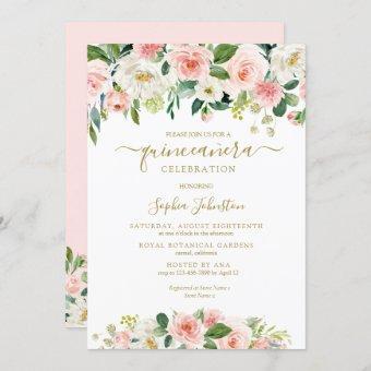 Elegant Blush Pink Green Gold Floral Quinceañera