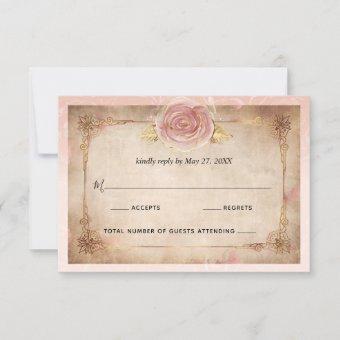 Elegant Blush Pink Rose Gold Rustic Wedding RSVP Card