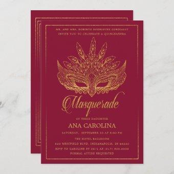 Elegant Burgundy Glitter Masquerade Quinceañera