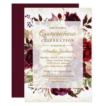 Elegant Burgundy Gold Bloom Birthday