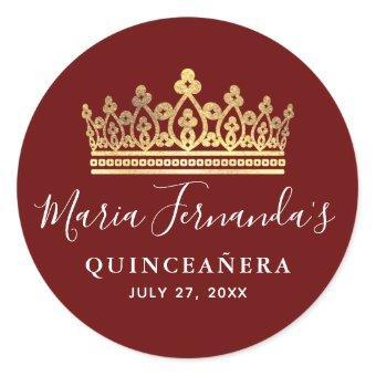 Elegant Burgundy Red Gold Crown Classic Round Sticker