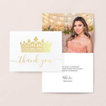 Elegant Crown Photo Thank You Gold Foil