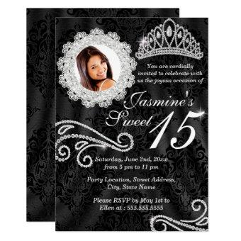 Elegant Diamond & Damask Photo Invite