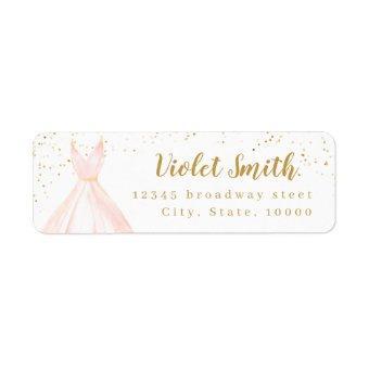 Elegant glitter gold & blush dress return address label
