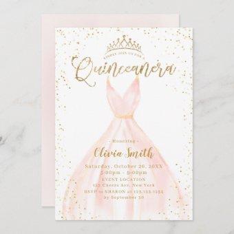 Elegant glitter gold & pink Cinderella Quinceañera