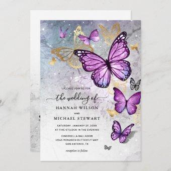 Elegant Gold and Purple Butterfly Wedding