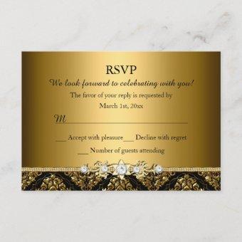 Elegant Gold & Black Damask RSVP