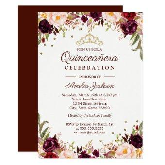 Elegant Gold Burgundy Floral Quinceanera Invitation