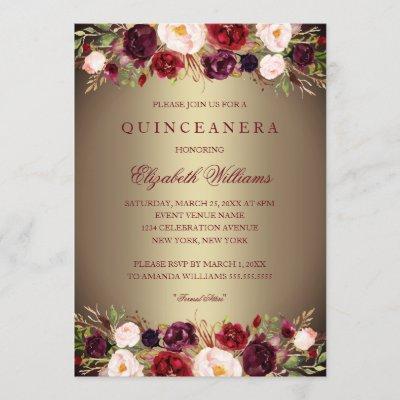 Elegant Gold Burgundy Rose Invite