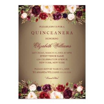 Elegant Gold Burgundy Rose Invite