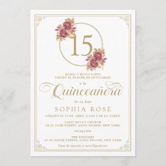 Elegant Gold Frame & Burgundy Rose