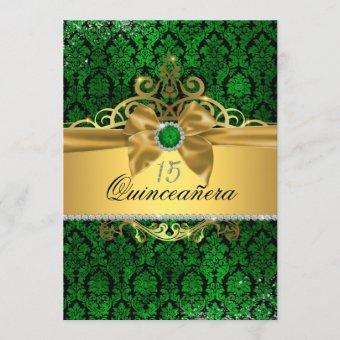 Elegant Gold Green Damask Invite