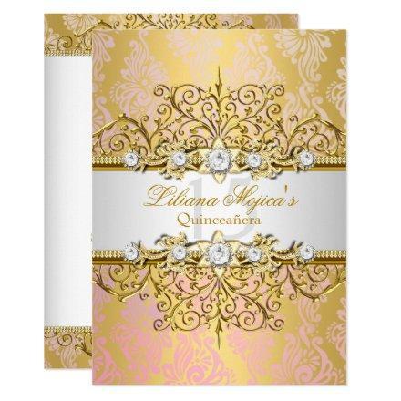 Elegant Gold Pink Vintage Glamour Quinceanera Invitation