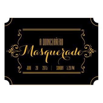 elegant gold MASQUERADE ticket