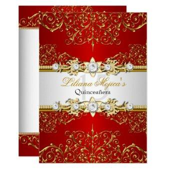 Elegant Gold Red Vintage Glamour Quinceanera Invitation