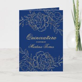 Elegant Gold Royal Blue Fine Floral