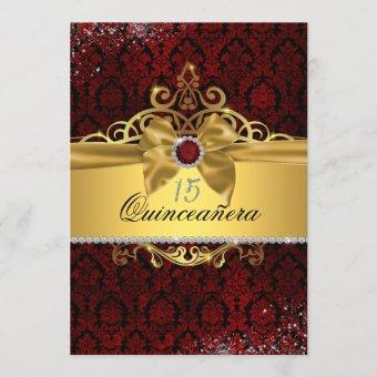 Elegant Gold Ruby Red Damask Invite