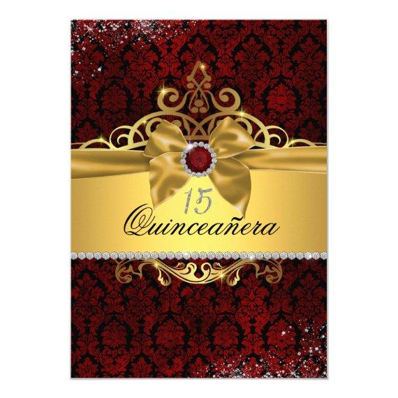 Elegant Gold Ruby Red Damask Invite