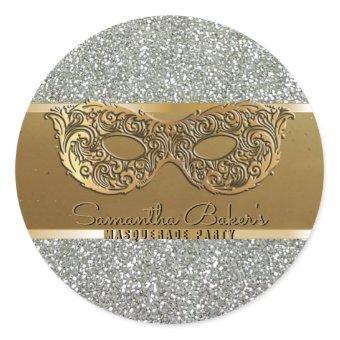 Elegant Gold Silver Masquerade Party Birthday Classic Round Sticker