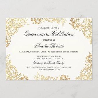 Elegant Gold Vintage Floral Invite