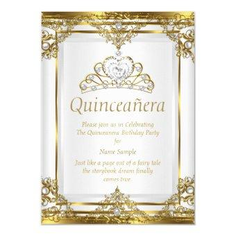 Elegant Gold White Pearl Princess Quinceanera Invitations