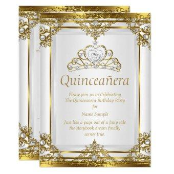 Elegant Gold White Pearl Princess Quinceanera Invitation