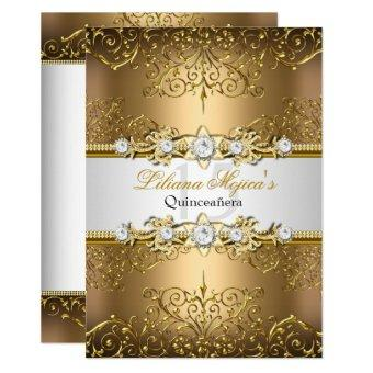 Elegant Gold White Vintage Glamour Quinceanera Invitation