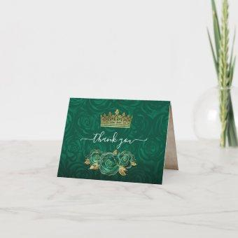 Elegant Green Rose Gold Crown Watercolor Folded Thank You