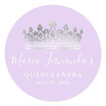 Elegant Light Purple Silver Crown Classic Round Sticker