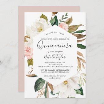 Elegant Magnolia | White and Blush Quinceañera