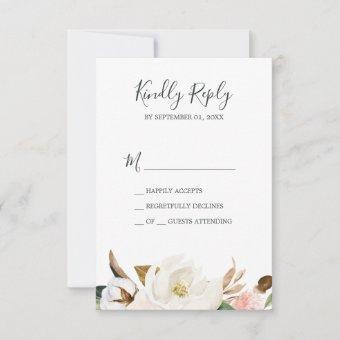 Elegant Magnolia | White & Blush Simple RSVP Card