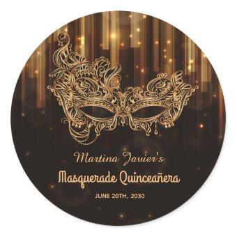 Elegant Masquerade Quinceañera 15th Birthday Classic Round Sticker