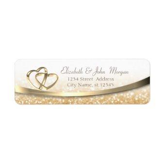 Elegant Modern Gold Glittery Bokeh,Hearts Rings Label
