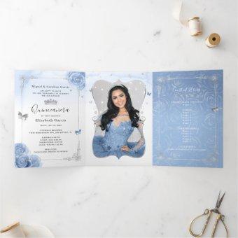 Elegant Photo Spanish Baby Blue Silver Tri-Fold