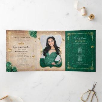Elegant Photo Spanish Green Rose Gold Tri-Fold