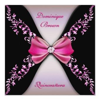 Elegant Pink Black Diamond Bow