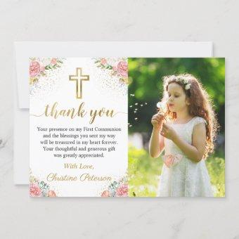 Elegant Pink Coral Floral 1st Holy Communion Photo Thank You