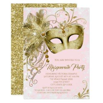 Elegant Pink Gold Glitter Masquerade Party