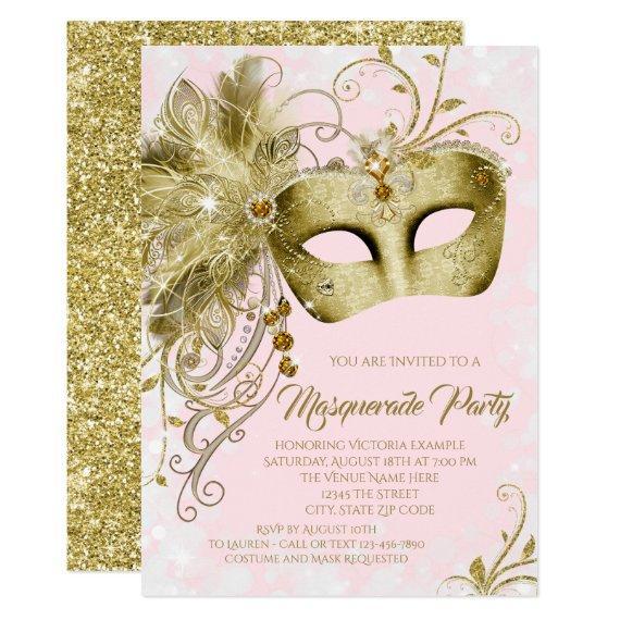 Elegant Pink Gold Glitter Masquerade Party